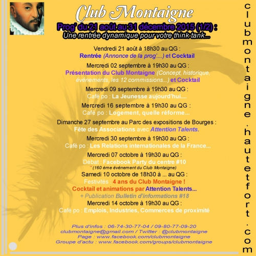 club montaigne,club montaigne bourges,club montaigne dijon,jbelaud,james belaud bourges,james belaud dijon,club montaigne rentrée,bulletin d'informations